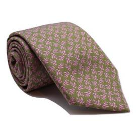 Andrew's Milano Green with Pink Leaves Tie