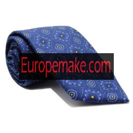 Andrew's Milano Blue with Yellow dots Jacquard Tie