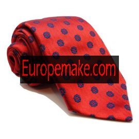 Andrew's Milano Bright Red with Navy Flowers Extra Long Necktie