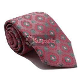 Andrew's Milano Pink and Green Satin Silk Tie