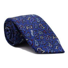 Andrew's Milano Blue Paisley Printed Jacquard Tie