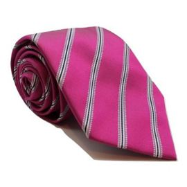 Andrew's Milano Pink with White and Navy Stripe Extra Long Tie